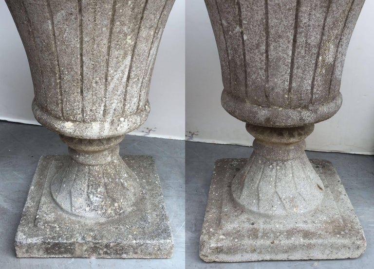 Pair of English Garden Stone Urns in the Classical Style 8