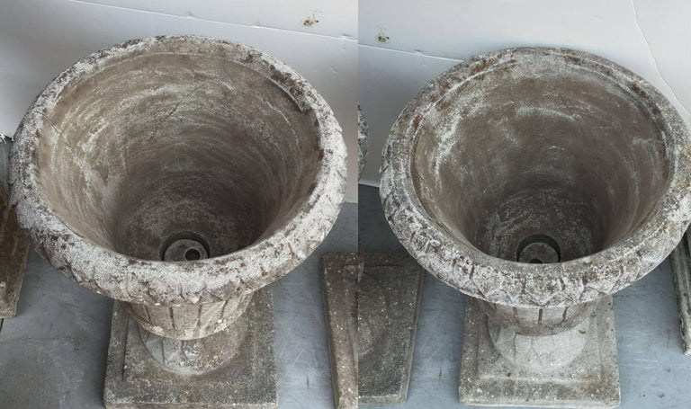 Pair of English Garden Stone Urns in the Classical Style 9