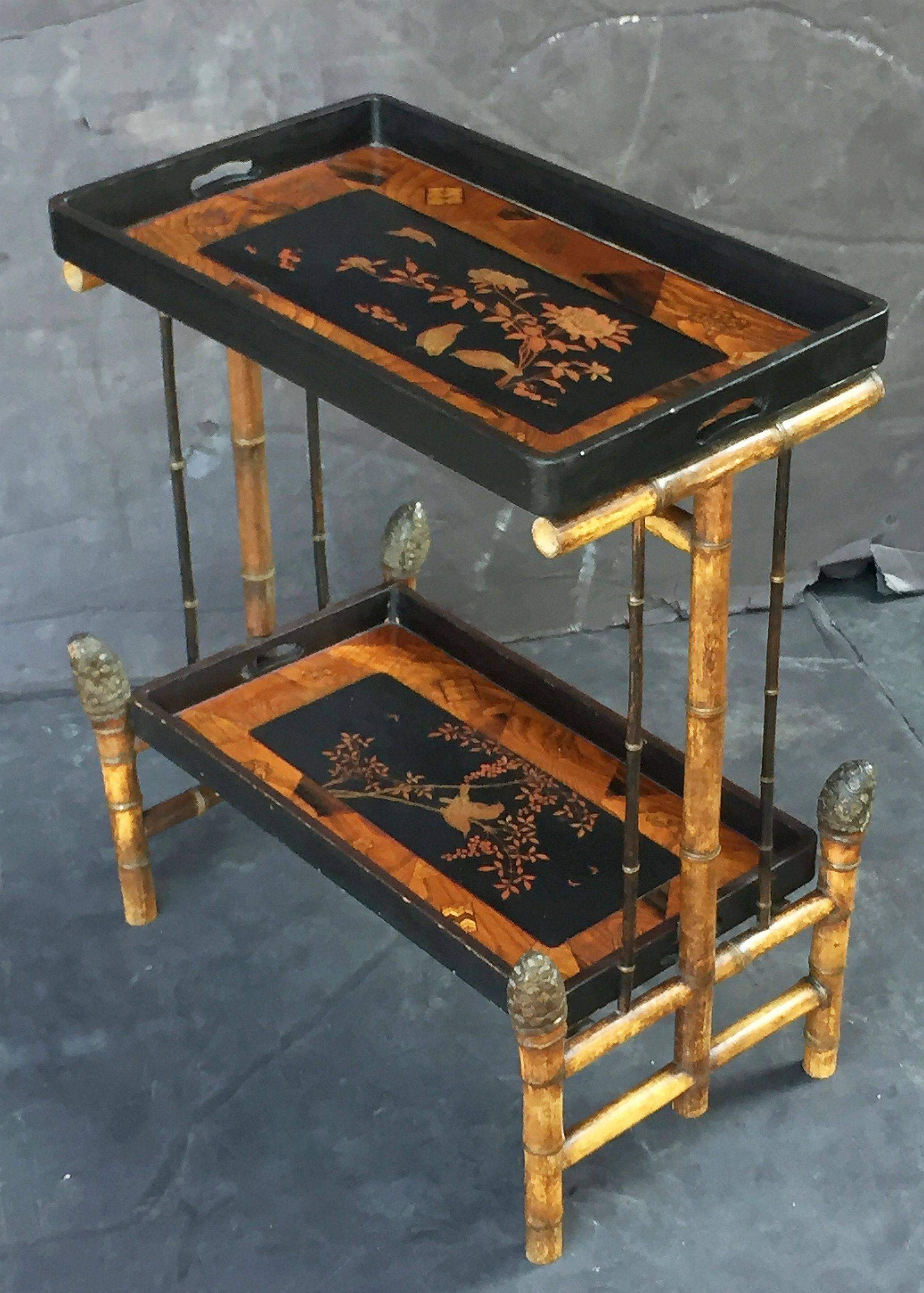 Nice English Bamboo Tray Table With Japan Lacquered Trays 2