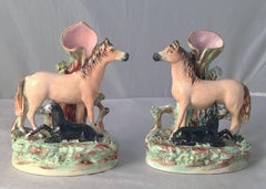 Pair of 19th Century English Staffordshire Horses with Foals