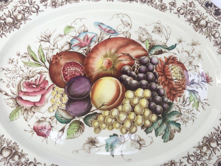English Transferware Large Platter, Harvest Fruit Pattern by Johnson Brothers 2