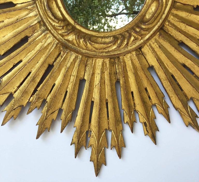 French Gilt Sunburst or Starburst Mirror (Diameter 24) For Sale 1