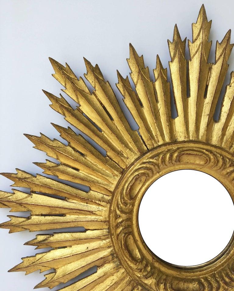 French Gilt Sunburst or Starburst Mirror (Diameter 24) For Sale 2