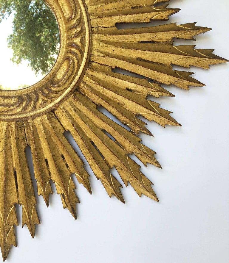 Glass French Gilt Sunburst or Starburst Mirror (Diameter 24) For Sale
