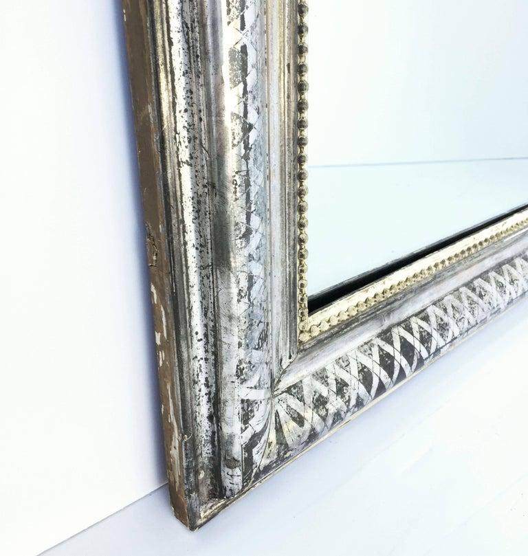 Louis Philippe Silver Gilt Mirror (H 55 x W 34) For Sale 5