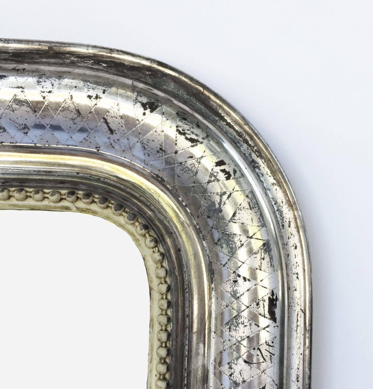 Louis Philippe Silver Gilt Mirror (H 55 x W 34) In Excellent Condition For Sale In Austin, TX