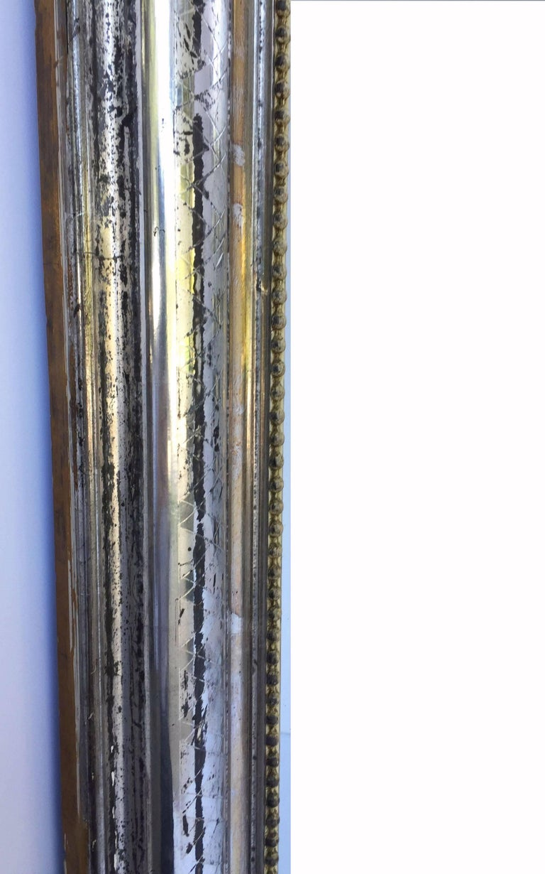 Louis Philippe Silver Gilt Mirror (H 55 x W 34) For Sale 4