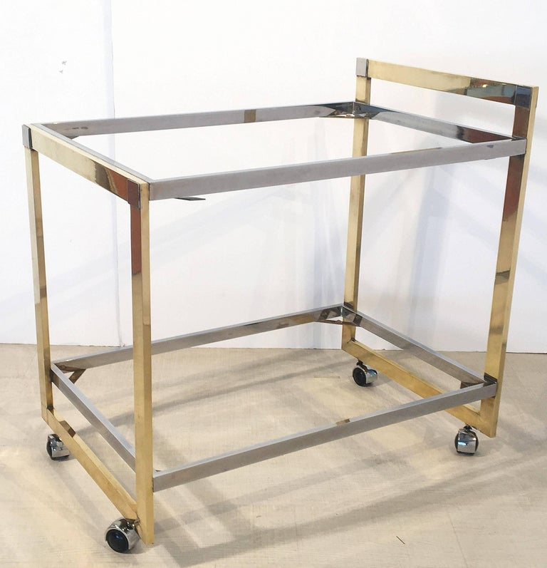 Midcentury Drinks Cart of Brass, Chrome, and Burled Wood by Willy Rizzo 10