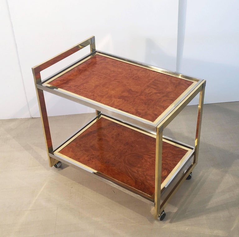 Midcentury Drinks Cart of Brass, Chrome, and Burled Wood by Willy Rizzo 4