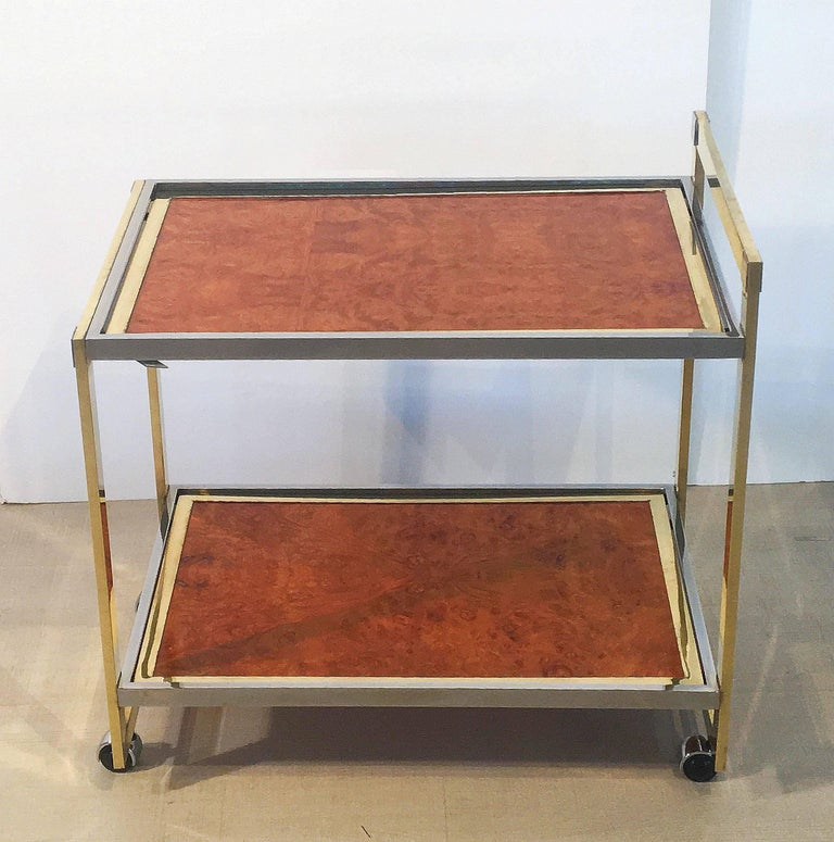 Midcentury Drinks Cart of Brass, Chrome, and Burled Wood by Willy Rizzo 3