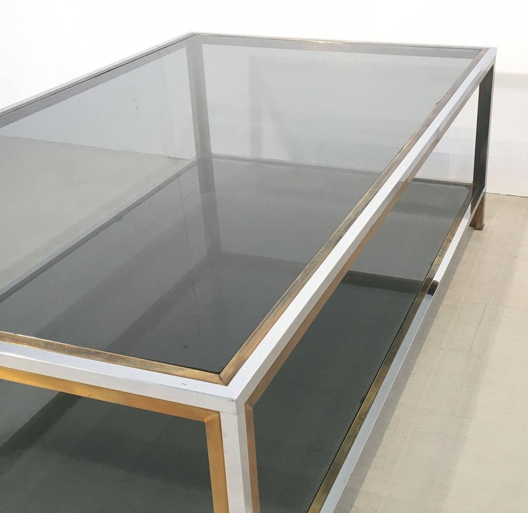 Large French Rectangular Low Table of Chrome, Brass and Smoked Glass 9