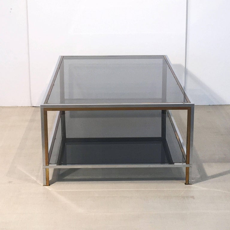 Large French Rectangular Low Table of Chrome, Brass and Smoked Glass 7