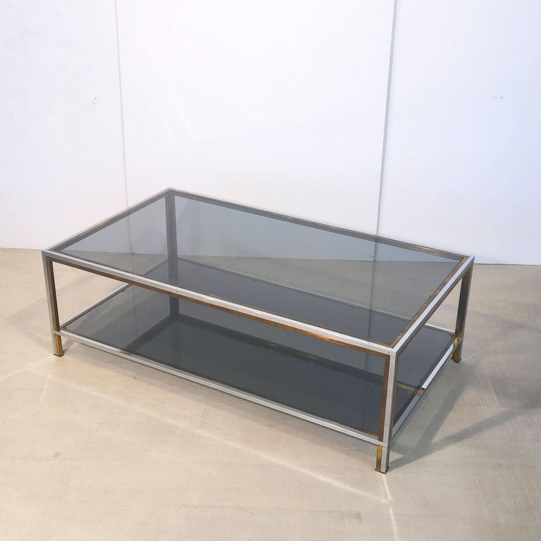 Large French Rectangular Low Table of Chrome, Brass and Smoked Glass 4