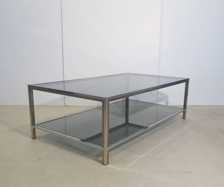 Large French Rectangular Low Table of Chrome, Brass and Smoked Glass 6