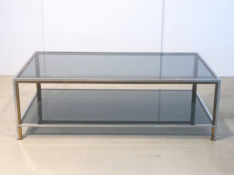 Large French Rectangular Low Table of Chrome, Brass and Smoked Glass 2
