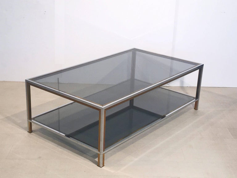 Large French Rectangular Low Table of Chrome, Brass and Smoked Glass 3
