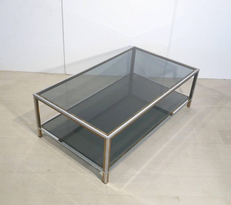 Large French Rectangular Low Table of Chrome, Brass and Smoked Glass 5