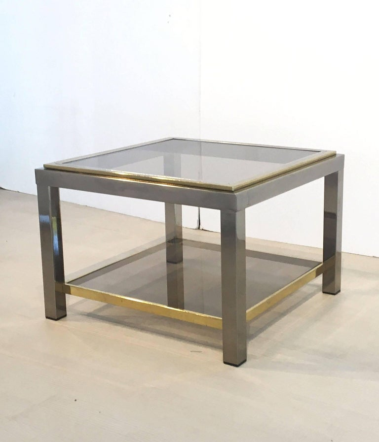 20th Century Italian Square Low Table of Brass, Chrome, and Smoked Glass by Zevi For Sale