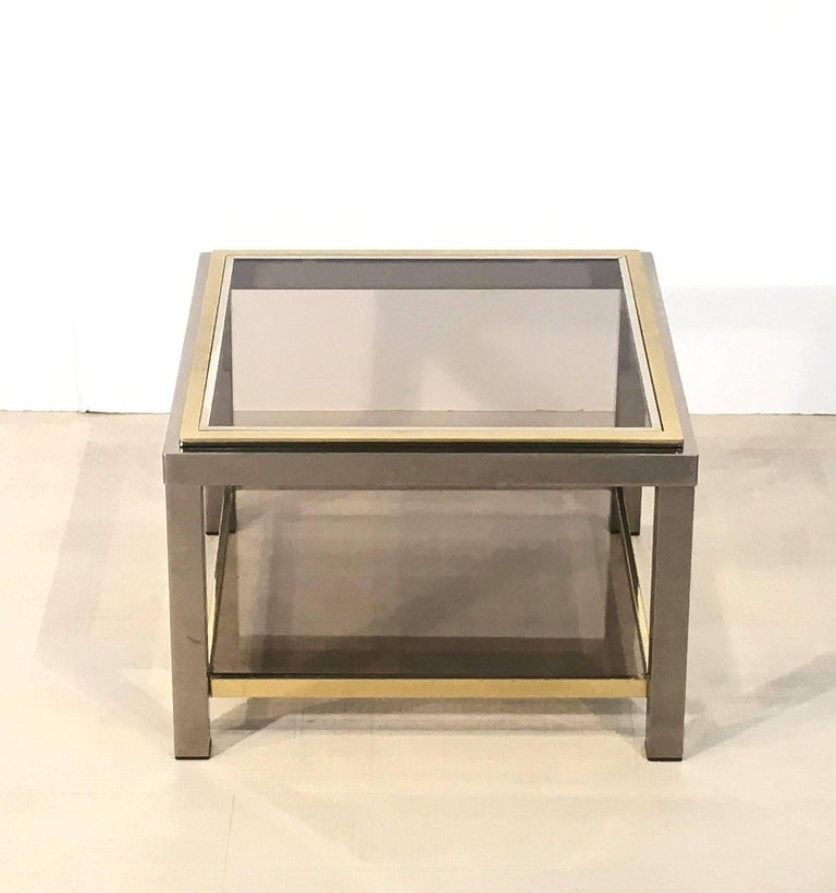 Mid-Century Modern Italian Square Low Table of Brass, Chrome, and Smoked Glass by Zevi For Sale
