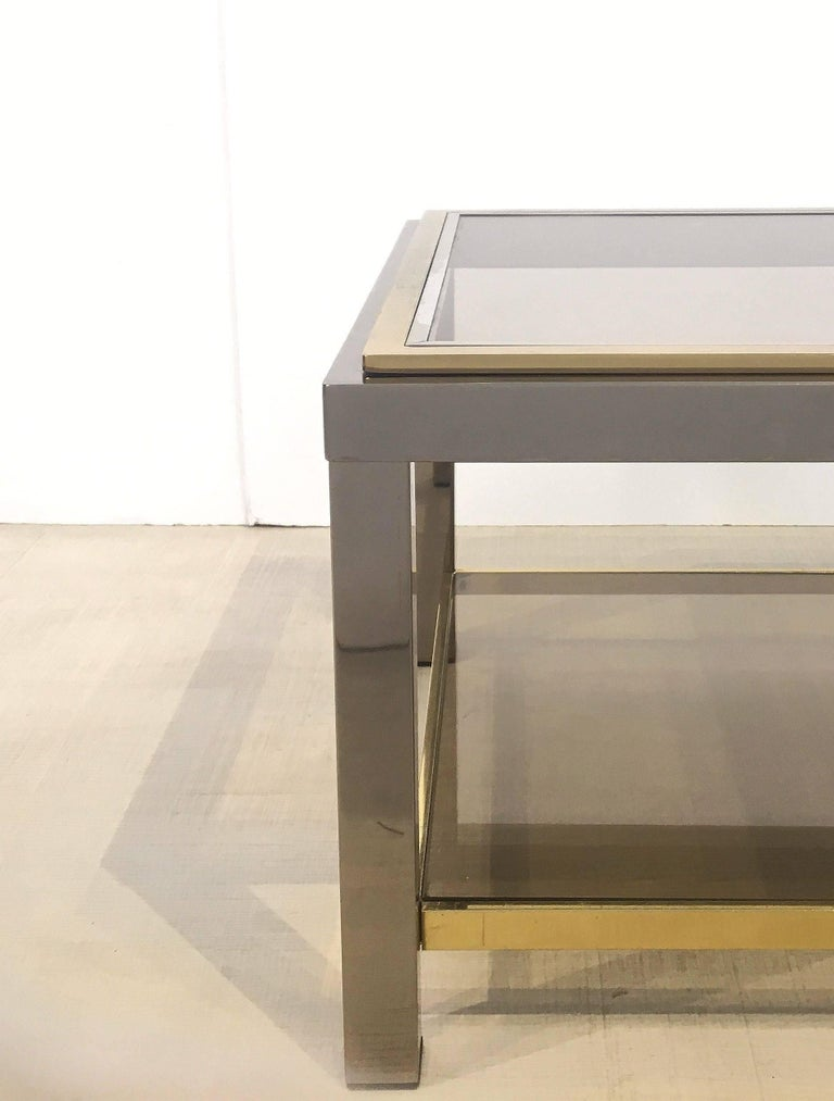 Italian Square Low Table of Brass, Chrome, and Smoked Glass by Zevi For Sale 2