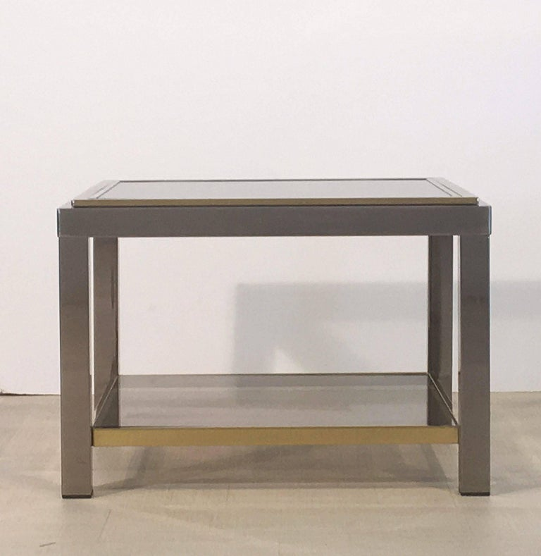 Italian Square Low Table of Brass, Chrome, and Smoked Glass by Zevi For Sale 1