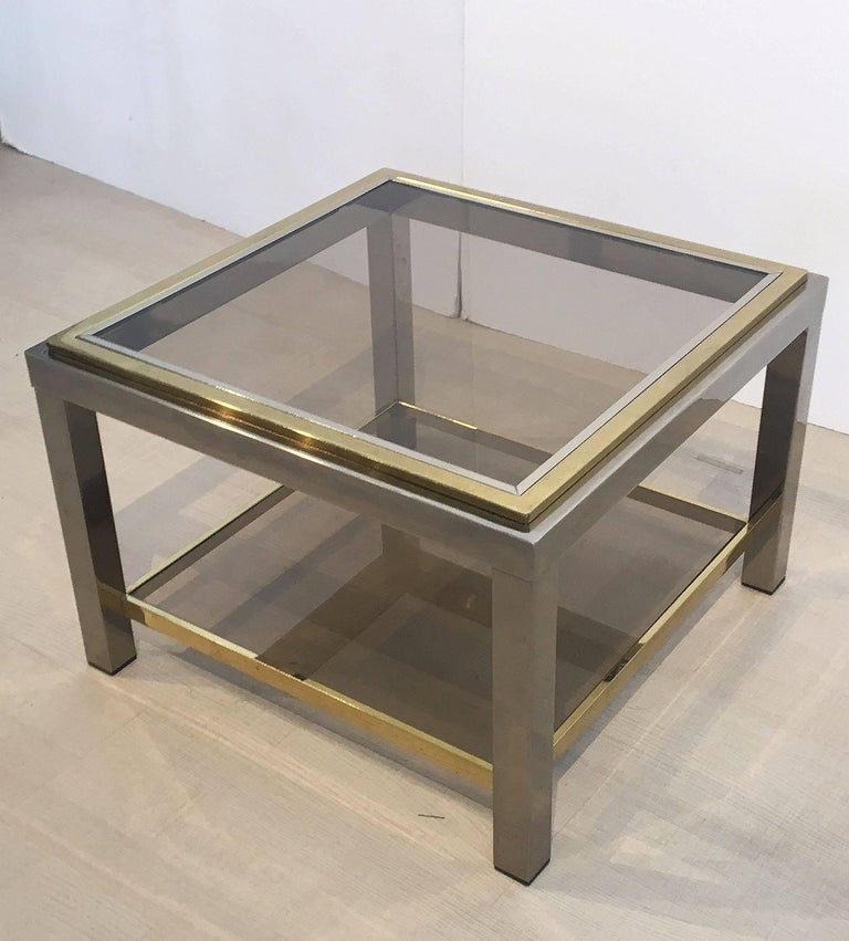 Italian Square Low Table of Brass, Chrome, and Smoked Glass by Zevi In Excellent Condition For Sale In Austin, TX