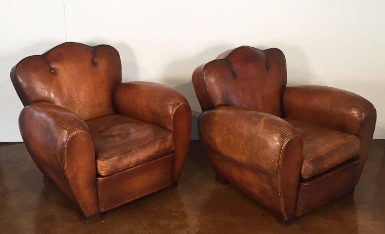 Pair of French Art Deco Leather Club Chairs 'Priced Individually' In Excellent Condition For Sale In Austin, TX