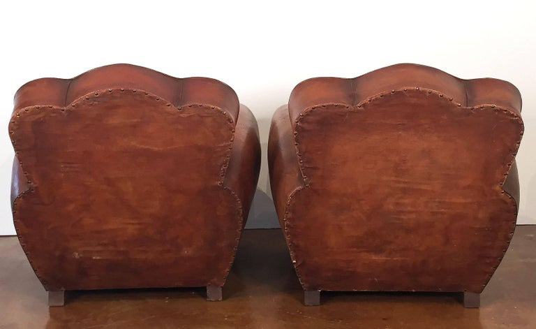 Pair of French Art Deco Leather Club Chairs 'Priced Individually' For Sale 4