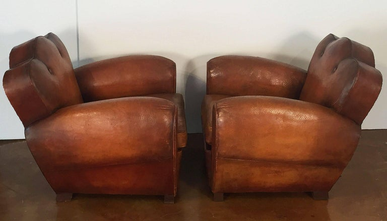 Brass Pair of French Art Deco Leather Club Chairs 'Priced Individually' For Sale