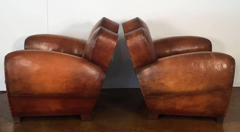 Pair of French Art Deco Leather Club Chairs 'Priced Individually' For Sale 1