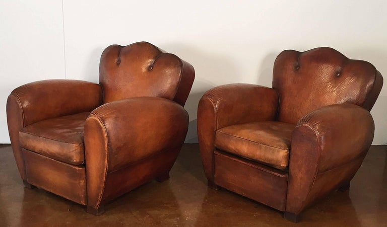 20th Century Pair of French Art Deco Leather Club Chairs 'Priced Individually' For Sale
