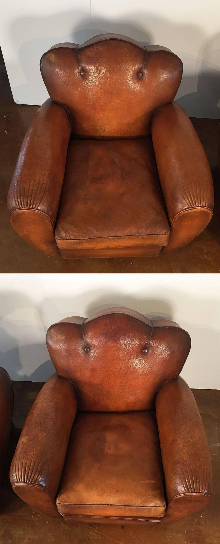 Pair of French Art Deco Leather Club Chairs 'Priced Individually' For Sale 2