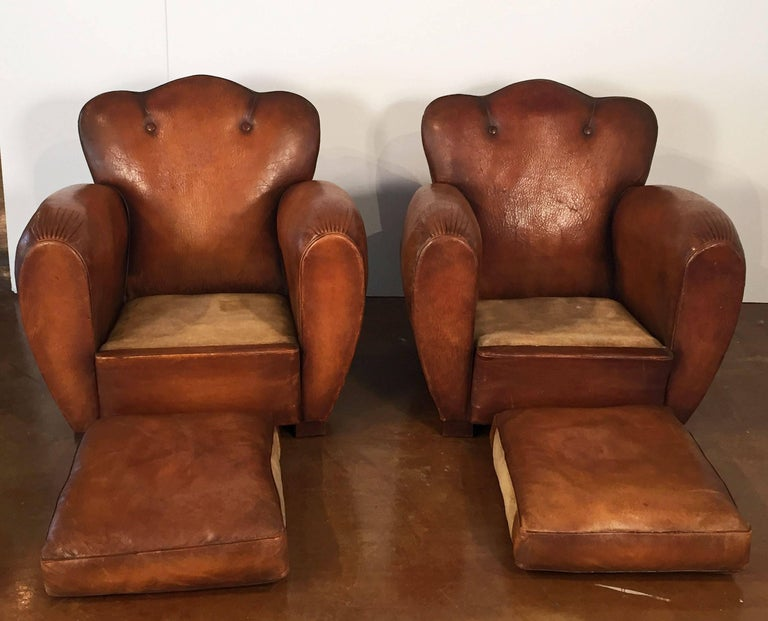 Pair of French Art Deco Leather Club Chairs 'Priced Individually' For Sale 3