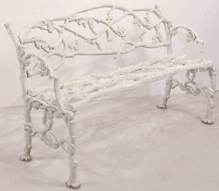 19th Century English Garden Bench or Seat of Cast Iron in the Coalbrookdale Style For Sale
