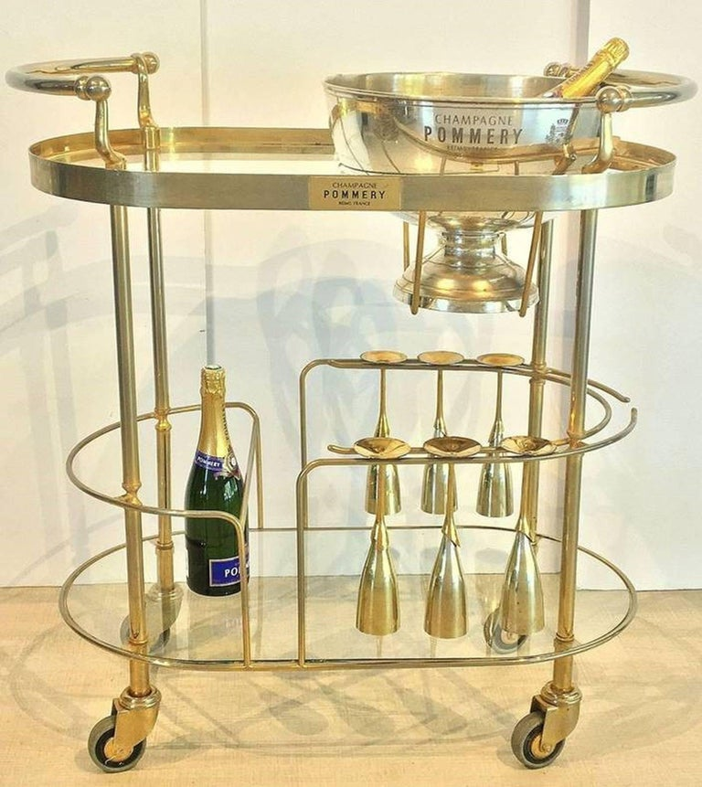 Art Deco Champagne Bar Cart by Pommery For Sale