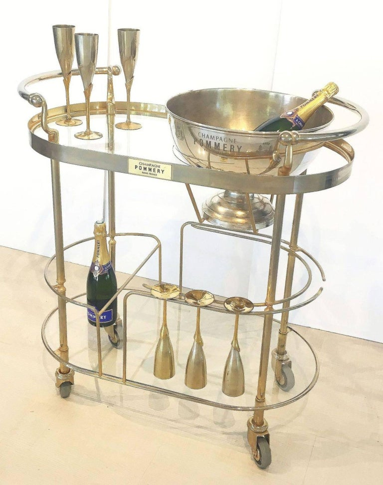 20th Century Art Deco Champagne Bar Cart by Pommery For Sale