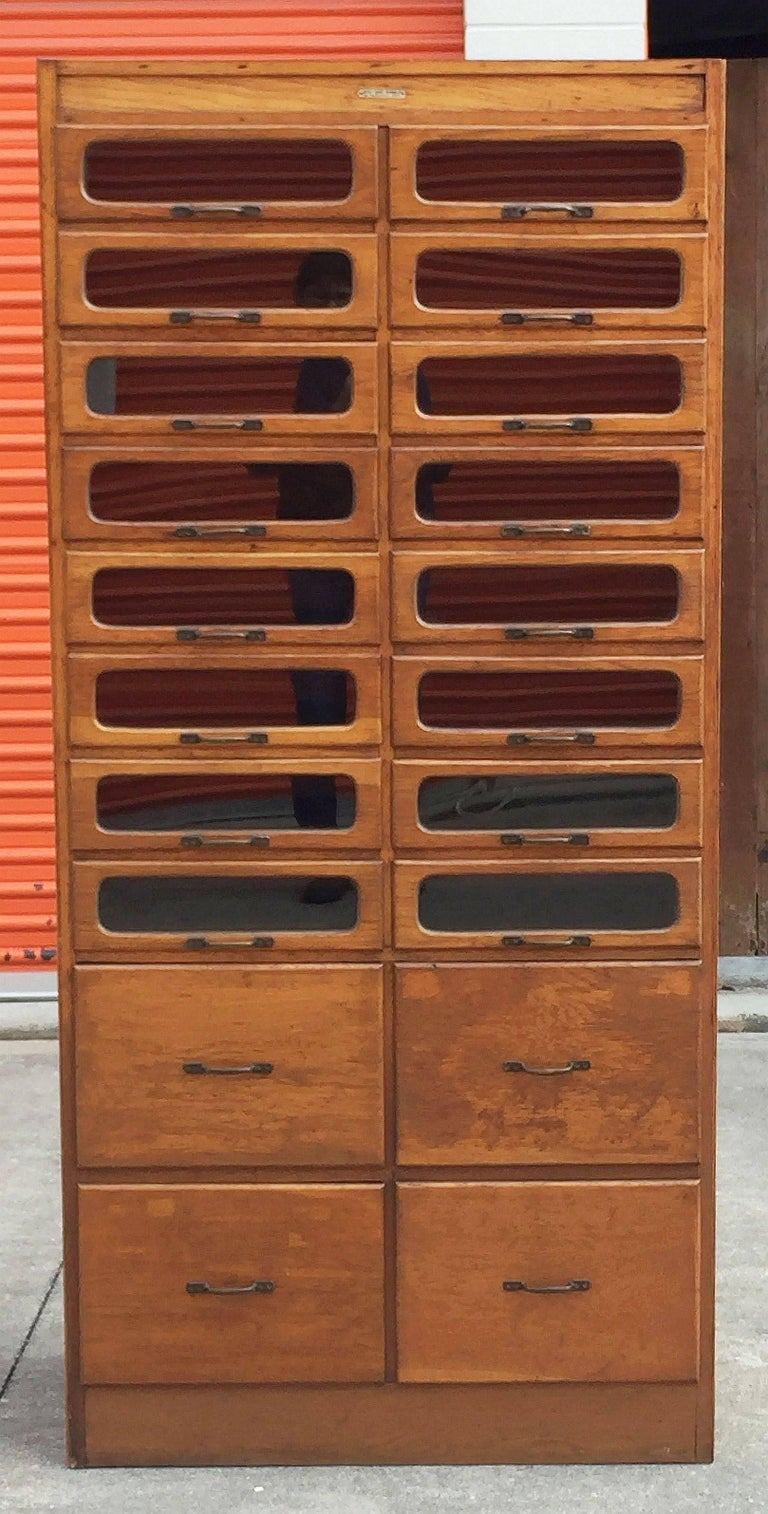 Metal Pair of English Haberdashery Cabinets For Sale