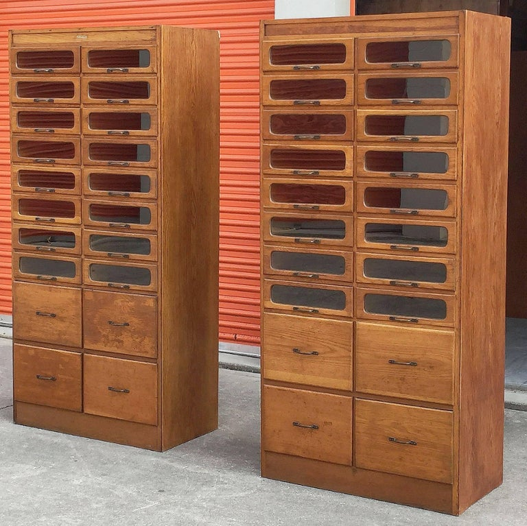 Pair of English Haberdashery Cabinets In Excellent Condition For Sale In Austin, TX