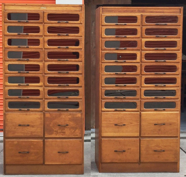 20th Century Pair of English Haberdashery Cabinets For Sale