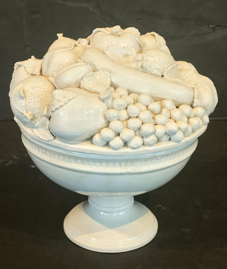 Large Italian Creamware or White Glazed Pedestal Bowl of Fruit 3