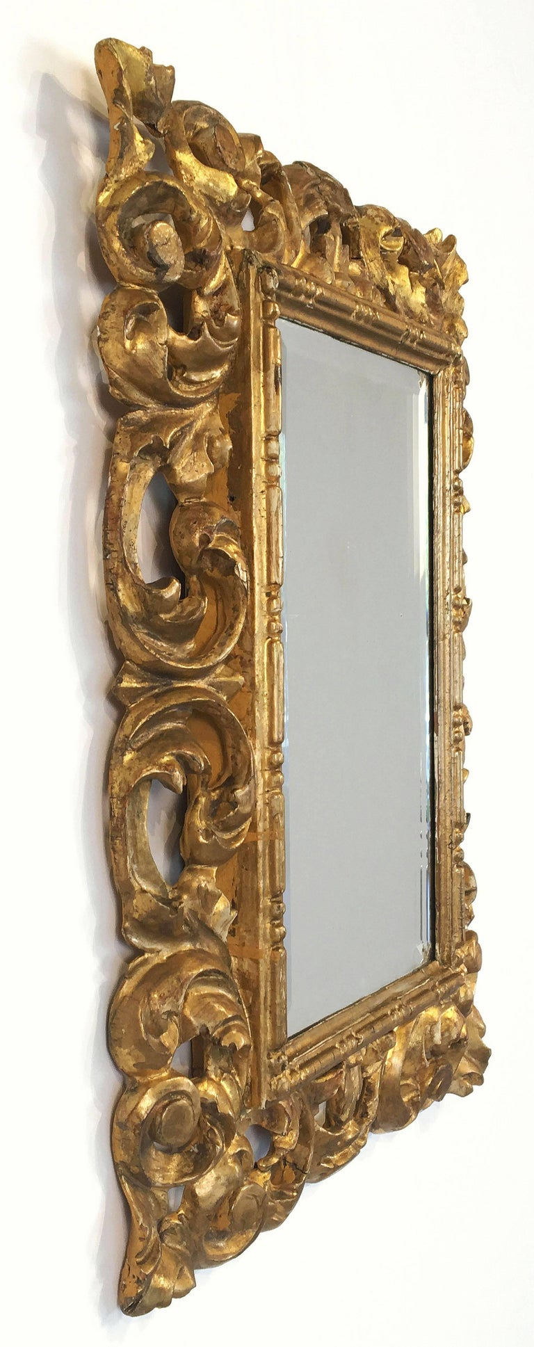Rococo Beveled Mirror with Carved Giltwood Frame (H 22 1/2 x W 16 1/2) For Sale 5