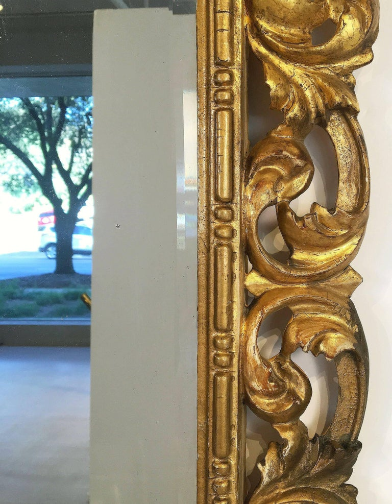 19th Century Rococo Beveled Mirror with Carved Giltwood Frame (H 22 1/2 x W 16 1/2) For Sale