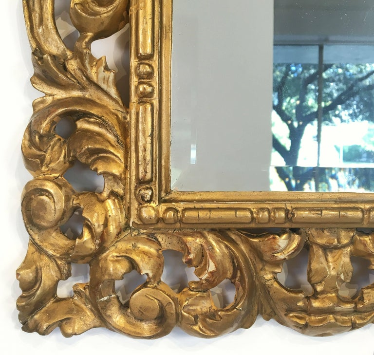 Rococo Beveled Mirror with Carved Giltwood Frame (H 22 1/2 x W 16 1/2) For Sale 3