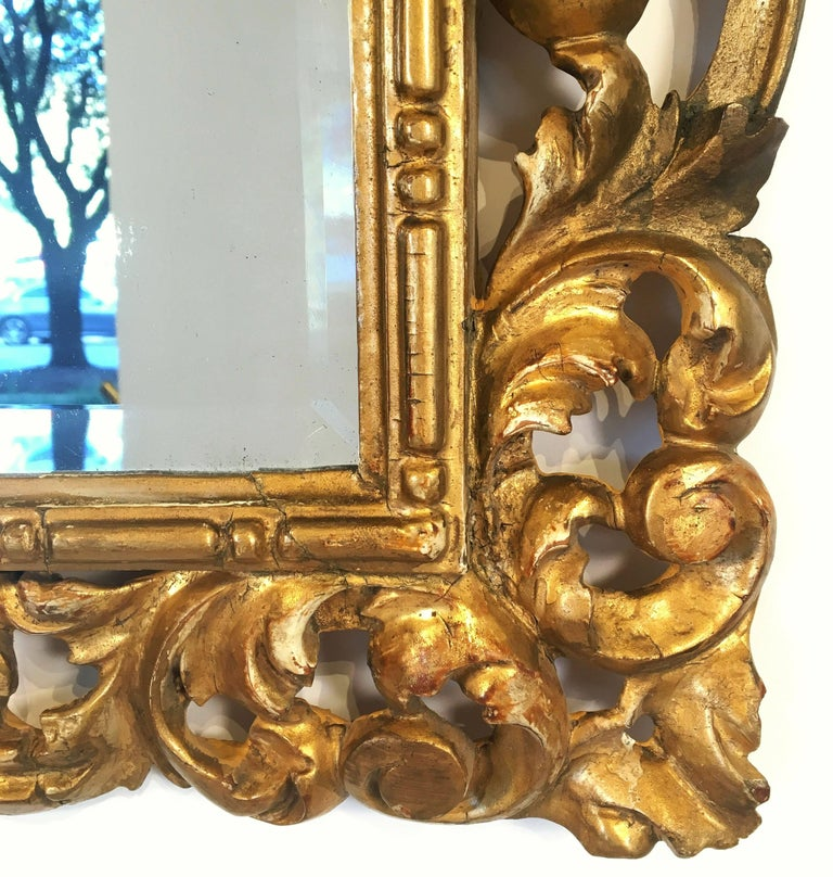 Rococo Beveled Mirror with Carved Giltwood Frame (H 22 1/2 x W 16 1/2) For Sale 1