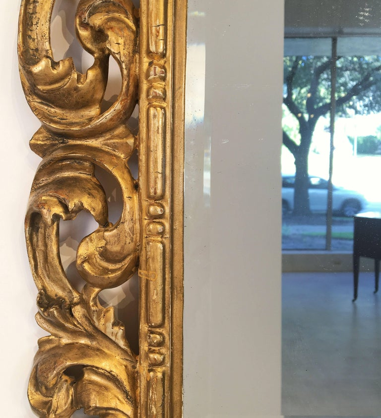 Rococo Beveled Mirror with Carved Giltwood Frame (H 22 1/2 x W 16 1/2) For Sale 4