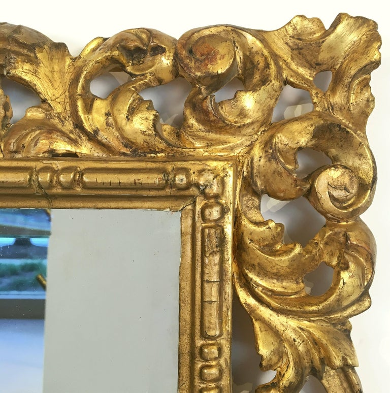 Rococo Beveled Mirror with Carved Giltwood Frame (H 22 1/2 x W 16 1/2) In Good Condition For Sale In Austin, TX