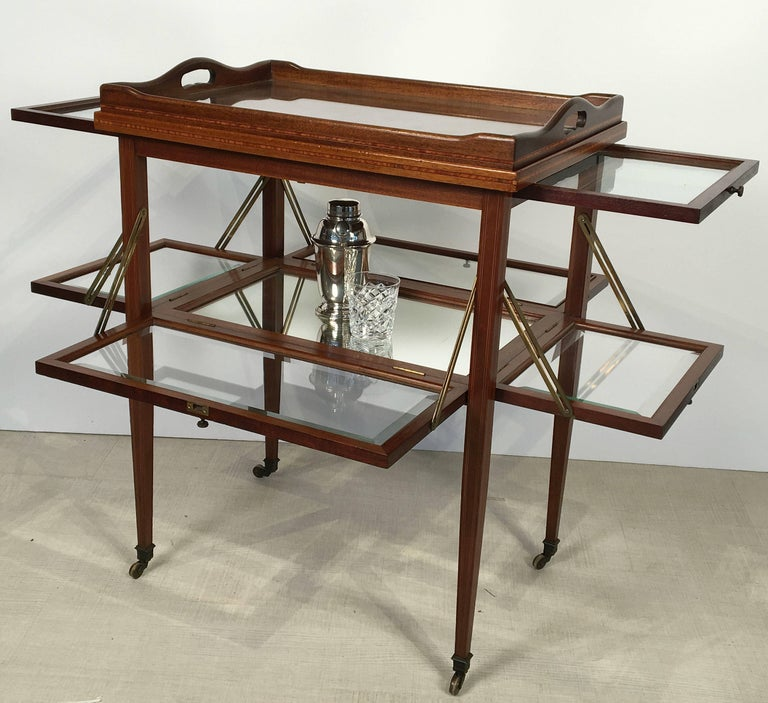 English Drinks Cart or Fold-Down Tea Table with Removable Tray Top 4
