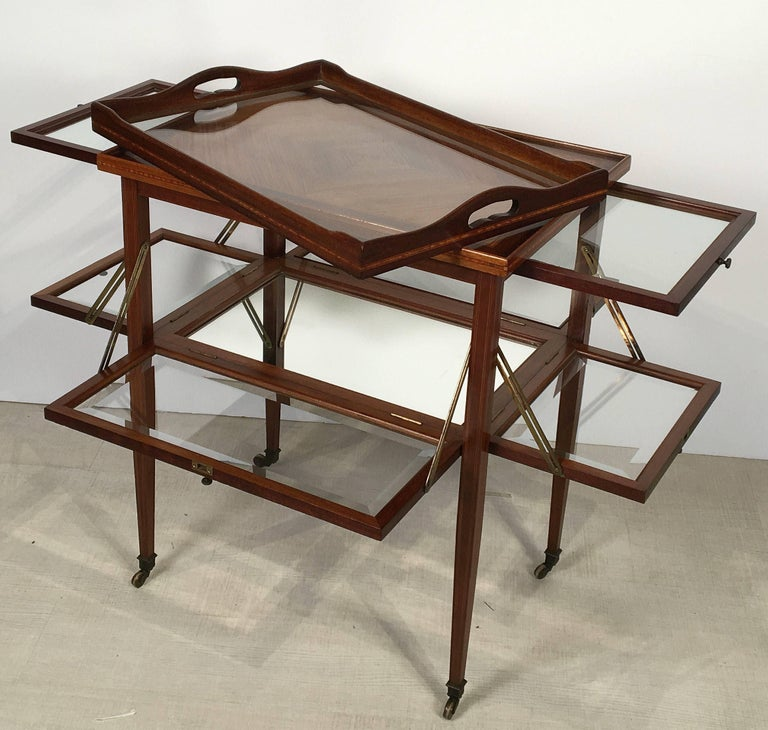 English Drinks Cart or Fold-Down Tea Table with Removable Tray Top 5