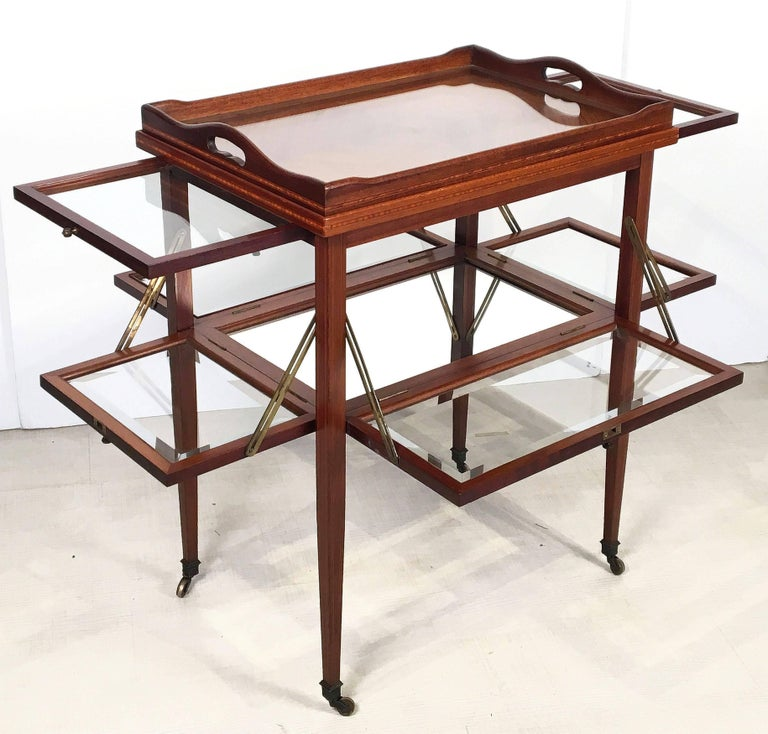 English Drinks Cart or Fold-Down Tea Table with Removable Tray Top 2