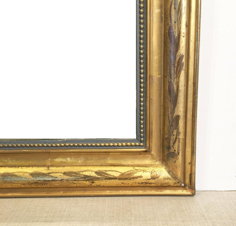 Glass Large Louis Philippe Arch Top Gilt Mirror (H 55 1/4 x W 39 3/4) For Sale
